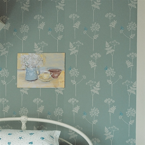 Cow Parsley - Wallpaper - Duck Egg, Cornflower