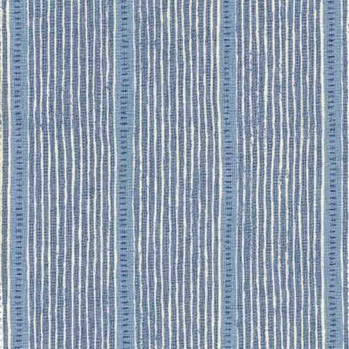 Stripe and Dash  - Cornflower, Forget-me-not, Denim