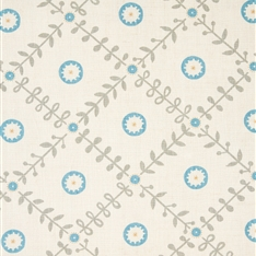 Fruit Garden Detail - Pigeon, Powder Blue, Straw