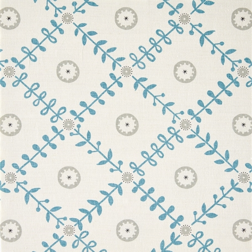 Fruit Garden Detail - Powder Blue, Pigeon, Charcoal