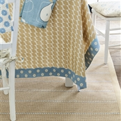 Stripe and Dash Rug - Mouse, Cornflower - Small