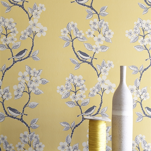 Song Birds - Wall Covering - Buttercup, Clay, Charcoal