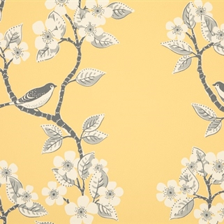 Song Birds - Wall Covering - Buttercup, Clay, Charcoal);