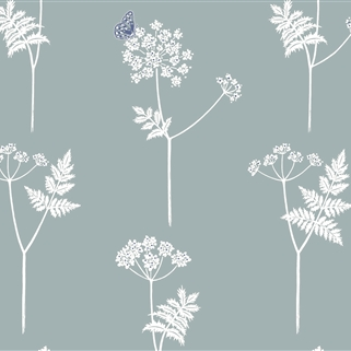 Cow Parsley - Wallpaper - Duck Egg, Cornflower );