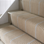 Stair or Floor Runner - Stripe & Dash - Mouse and Cornflower