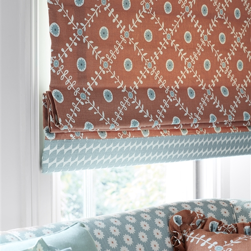Roman Blind in Fruit Garden Peach, Smoke, Winter (140cm x 233cm)