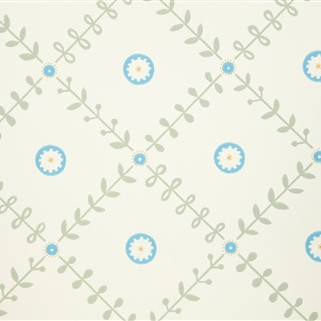 Fruit Garden Detail - Wall Covering - Pigeon, Powder Blue, Straw